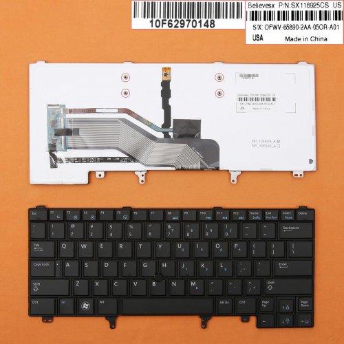 Клавиатура за лаптоп Dell Latitude E6230 E6420 Черна с Пойнт Стик с Подсветка / Black With Point Stick Backlit - Оригинална