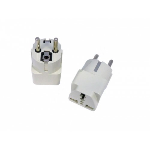 Преходник (Adapter) UK-US to EU (Шуко) Бял / White