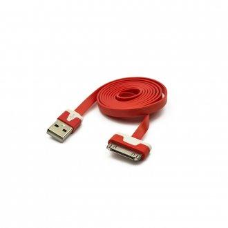 Кабел (USB Data / Charge Cable) Apple за iPhOne 3GS 4 4S iPad 30pins Червен / Red