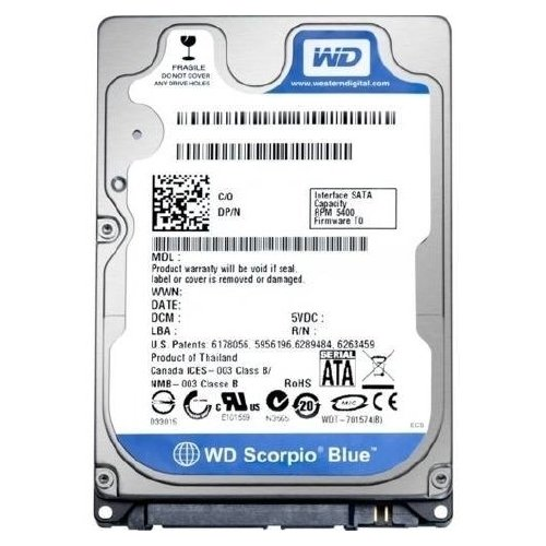 Хард диск за лаптоп - HDD for Notebook WD Scorpio Blue 320GB 5400/SATA2/8MB WD3200LPVX