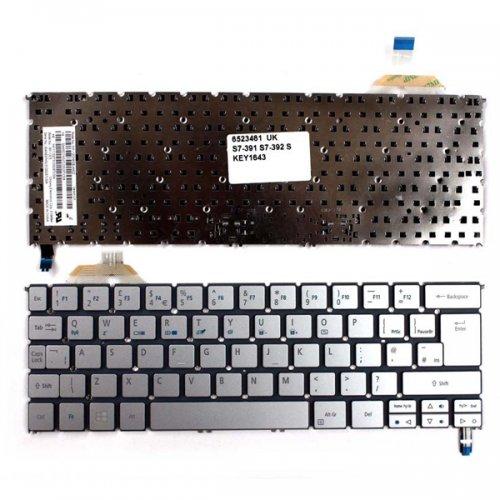 Клавиатура за лаптоп Acer Aspire S7-391 S7-392 Сива без рамка US/UK