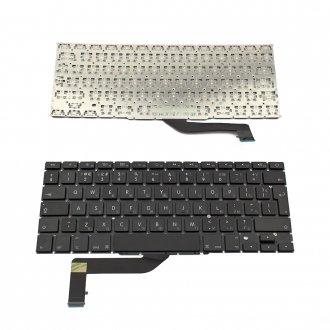 """Клавиатура за лаптоп Apple MacBook Pro A1398 15.4"""" Черна Без Рамка (Голям Ентър) с Кирилица / Black Without Frame UK (For Backlit Version)"""