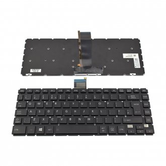 Клавиатура за лаптоп Toshiba Satellite E45T-B L40-B S40-B Черна Без Рамка (Голям Ентър) с Подсветка / Black Without Frame UK With Backlit