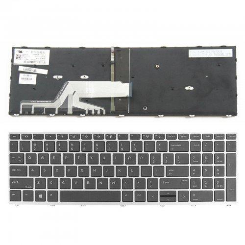 Клавиатура за лаптоп HP Probook 450 G5 455 G5 470 G5 Черна със Сребриста Рамка с Подсветка / Silver Frame Black With Backlit