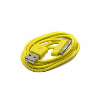 Кабел (USB Data / Charge Cable) Apple за iPhOne 3GS 4 4S iPad 30pins Жълт / Yellow