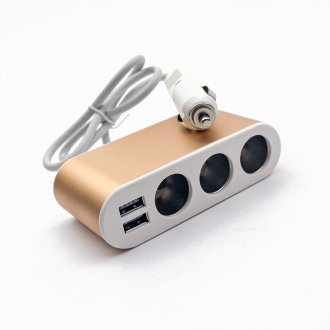 Автомобилно зарядно (DC Car Charger) 12-24V With 3xSocket Adapter Dual USB Interface (5V 1A/3.1A)
